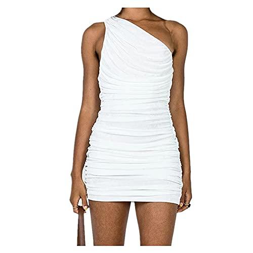 N\P Sexy Una Spalla Mini Vestito Estivo Blu Arancione Breve Partito Donne bianco M
