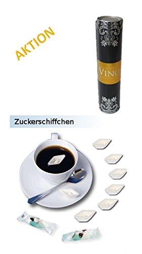 Zucker-Schiffchen (Würfelzucker als Schiff) 50 St. verpackt in Geschenkdose VINO