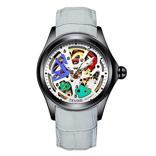 FENGJJ Relojes mecánicos Huecos, Relojes automáticos, Relojes para Hombres, Relojes de Acero Inoxidable, Relojes, Correas de Cuero, Correas de Acero Inoxidable, Accesorios de Moda,Plata