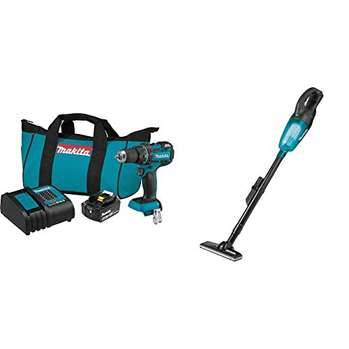 """Makita XFD061 18V LXT Lithium-Ion Compact Brushless Cordless 1/2"""" Driver-Drill Kit (3.0Ah) with XLC02ZB 18V LXT Lithium-Ion Cordless Stick Vacuum"""