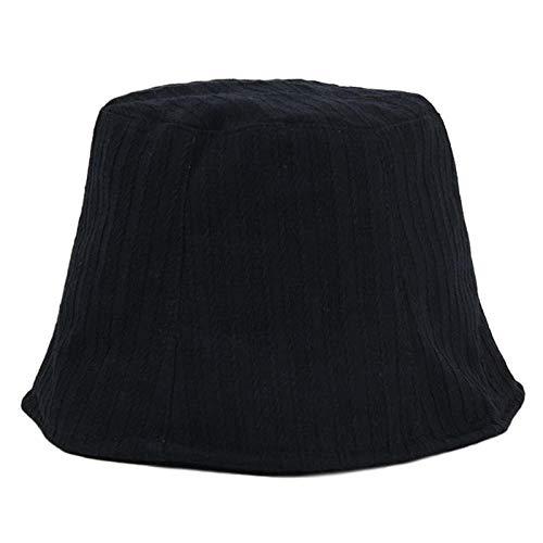 EimerhutDamen Klassische Einfarbige Eimer Hut Frauen Männer Sun Hunting Fisherman Cap Kopfbedeckung Zubehör-Schwarz
