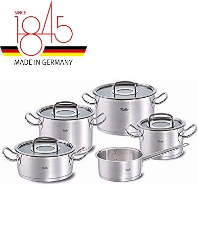 Fissler OPC Stainless Steel Cooking-Pot-Set, Compatible Stovetops: Induction, Gas, Electric, with Metal-Lid, 9-Piece, Black