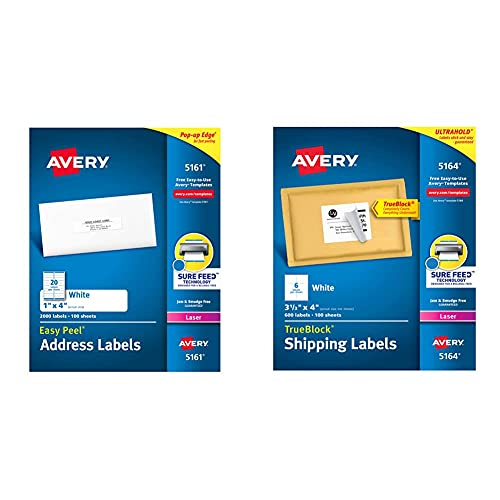 """Avery Address Labels with Sure Feed for Laser Printers, 1"""" x 4"""", 2,000 Labels, White & Shipping Address Labels, Laser Printers, 600 Labels, 3-1/3x4 Labels, Permanent Adhesive, TrueBlock (5164), White"""