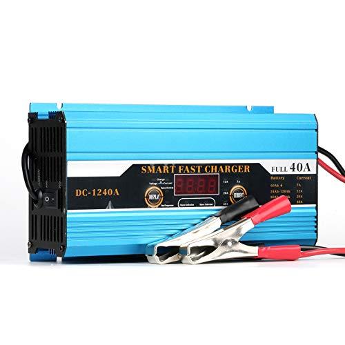 GOZAR Coche Cargador De Batería 12V40A Coche Cargador De Batería De Coche con Pantalla