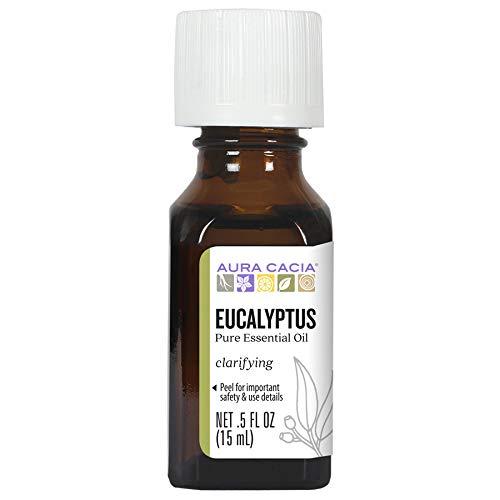 Aura Cacia 100% Pure Eucalyptus Essential Oil | GC/MS Tested for Purity | 15 ml (0.5 fl. oz.) | Eucalyptus globulus