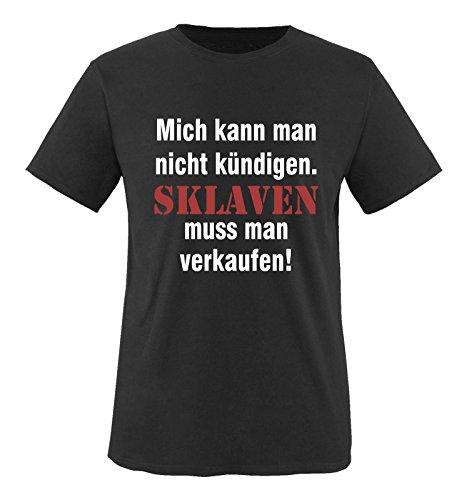 Comedy Shirts - Mich kann man nicht kündigen. Sklaven Herren T-Shirt - Schwarz/Weiss-Rot Gr. 3XL