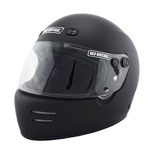 NEO VINTAGE ドラッガースタイル フルフェイス SG規格品 ステッカー付 [マットブラック×クリアシールド 黒 Lサイズ:59-60cm対応] VT-6 バイクヘルメット