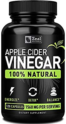 Zeal Naturals Natural Raw Apple Cider Vinegar Capsules (1560mg|120 Capsules) Apple Cider Vinegar Pills w Cayenne Pepper, Fast Weight Loss Cleanse Appetite Suppressant & Bloating Relief from Zeal Naturals