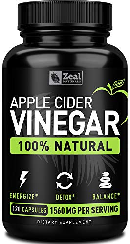 Zeal 100% Natural Raw Apple Cider Vinegar Pills (1560mg | 120 Capsules) Apple Cider Vinegar with Cayenne Pepper for Detox Weight Loss Cleanse & Bloating Relief - from the Mother | Vegan | Non-GMO