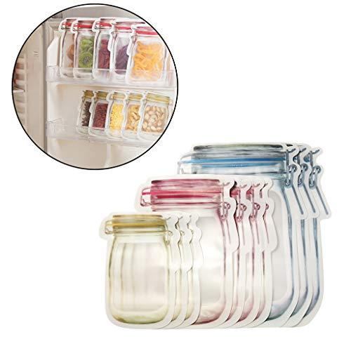 10 Stück Flaschenform Aufbewahrungstasche Versiegelter Beutel - Konservierungs-Kühlschrank, der Lebensmittel-Speicher-wiederverwendbares Glas einfriert, sackt Frischware ein Amhomely® (10PC)