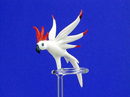 Orchideenstab aus Glas mit Kakadu weiss/rot (3Fl) Blumenstab Rankhilfe Lauscha Handarbeit