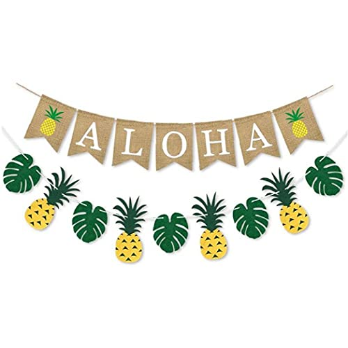 2 Pieces Summer Banner Decoration Set, for Hawaiian Luau Beach Birthday Wedding Party