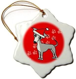 Emily Christmas Decoration Cute Grey Italian Greyhound Red with Santa Hat Ceramic Snowflake Ornament Xmas Gifts Ideas