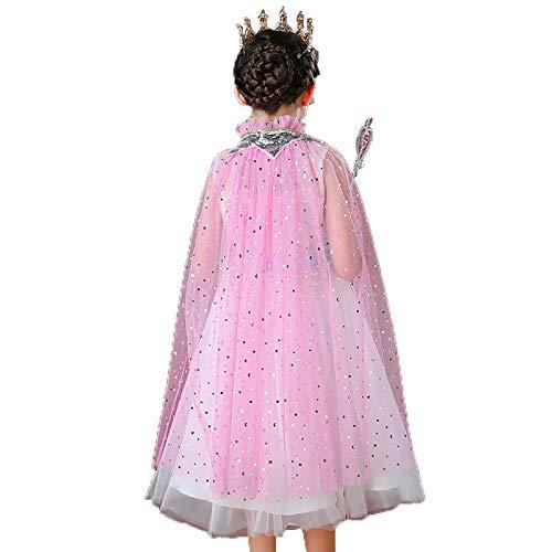 Qingsi 1 capa de princesa de princesa congelada disfraz de princesa con lentejuelas brillantes, capa de tul ajustable, para Halloween, carnaval, cosplay, para nias, color rosa
