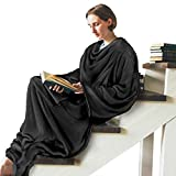 Sleeved Wearable Blanket w/Back Snap Button, Cozy Soft Fleece Snuggle Body Blanket for Adult, Comfy Throws Wrap Blanket Robe with Pocket for Sofa Home Office, Great Gift for Man, Women