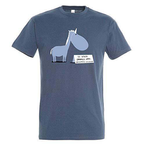 Pampling Camiseta Se Vende (Talla XL) - Unicornio - Chiste - Color Azul Denim - 100% Algodón - Serigrafía