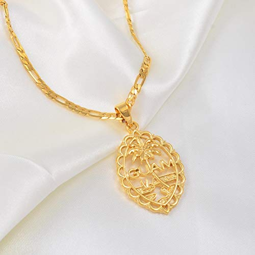 WH MaiYY Guam Flag Pendant Necklaces For Women Gold Color Chains Guam Gifts #166506P