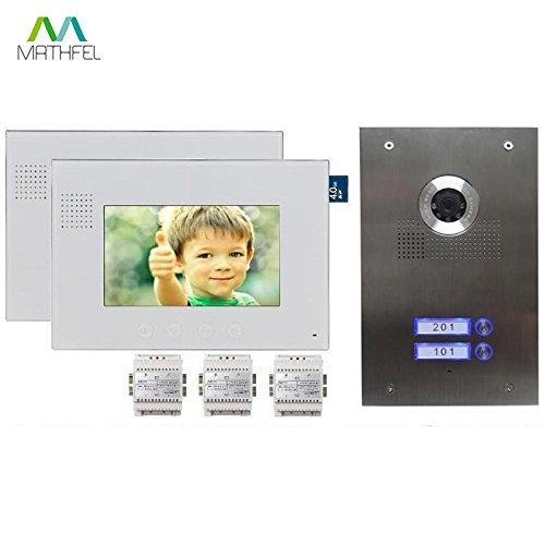 2-Familienhaus Video Türsprechanlage Gegensprechanlage mit 7 '' Monitor (Weiß)