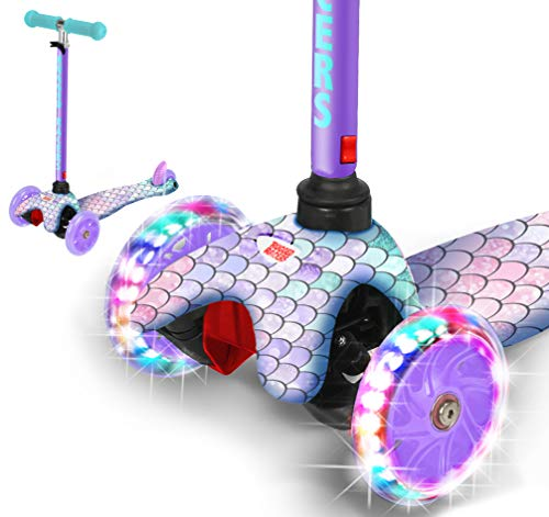 Rugged Racers Printed Kick Scooter for 3 Wheel Scooter, Adjustable Kick Scooter for Kids with PU LED Light Up Wheels, Step Brake, Lean 2 Turn, Ride on Toys for Children 3 Year Plus (Mermaid)