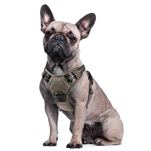 Eagloo Hundegeschirr Geschirr für Große Hunde Anti Zug Mittelgroße Brustgeschirr No Pull Sicherheitsgeschirr Auto Dog Harness Labrador Welpengeschirr Weich Gepolstert Braun S