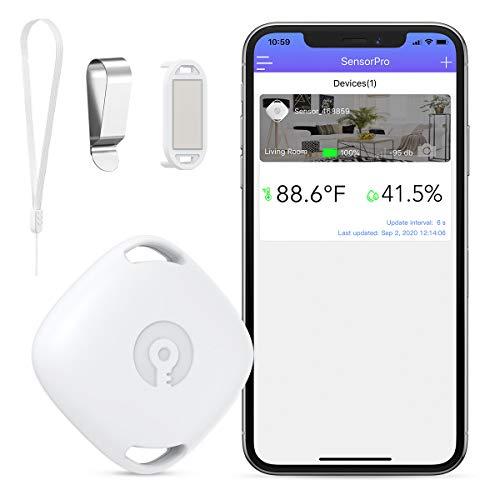 Brifit Bluetooth Thermometer Hygrometer, Bluetooth Temperatursensor, Kabelloses Hygrometer Thermometer für IOS/Andiord, mit Daten Export, APP-Alarm, Ideal für Wein, Zigarre, Gitarrenkoffer