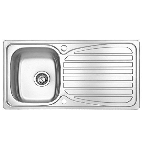 Fregadero JASS FERRY para la cocina, de acero inoxidable, reversible, con una parte profunda y una rejilla para el desagüe