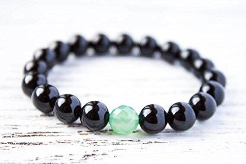 LOVEKUSH Venta al por mayor 8mm elástico negro y verde negro verde jade pulsera redonda, lisa 7 pulgadas para hombres, mujeres, gf, bf y adultos.