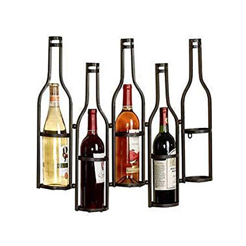 Pkfinrd Estante de vino montado en la pared, decoración del hogar y la cocina, estante de almacenamiento de hierro pesado, diseño de fácil instalación | soporte para botellas