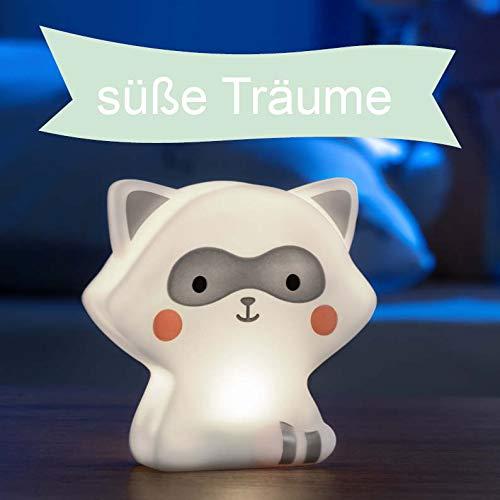 LED Nachtlicht für Kinder, Tierfigur Waschbär, Kinder Lampe mit Timer, mit Batterie