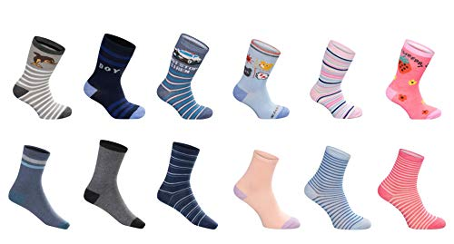 SG-WEAR 12 Paar Kindersocken für Jungen & Mädchen mit hohem Baumwollanteil Kinder Socken in verschiedenen Motiven/Strümpfe in Größe 23-26, 27-30, 31-34, 35-38 / Ganzjahresartikel (35-38, Boy)