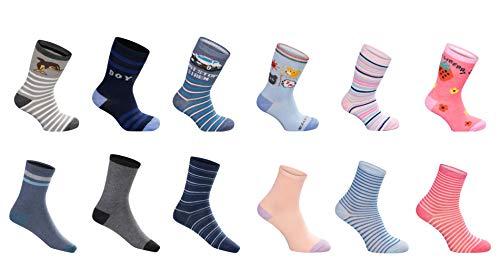 SG-WEAR 12 Paar Kindersocken für Jungen & Mädchen mit hohem Baumwollanteil Kinder Socken in verschiedenen Motiven/Strümpfe in Größe 23-26, 27-30, 31-34, 35-38 / Ganzjahresartikel (27-30, Boy)