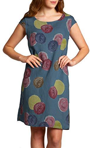 Caspar SKL033 leichtes knielanges Damen Sommer Leinenkleid mit Punkte Print, Farbe:Jeans blau, Größe:S - DE36 UK8 IT40 ES38 US6