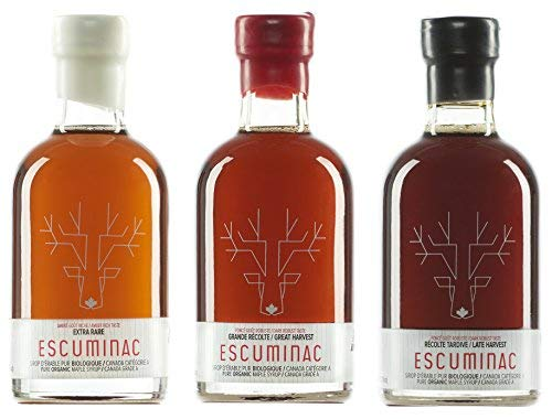Award Winning Escuminac Canadian Maple Syrup Gift Bundle Grade A Including Our Extra Rare, Great Harvest and Late Harvest - Pure Organic Unblended Single Forest - 3 X 6.8 fl oz (200 ml) Holiday Gift