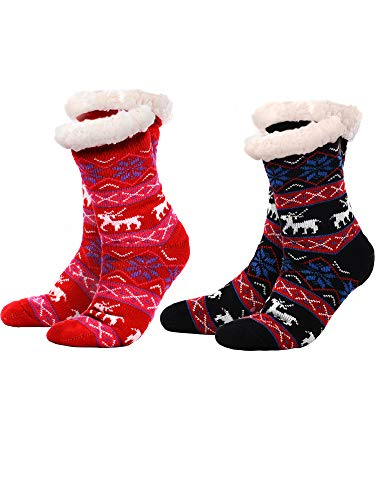 Boao 2 Pairs Women's Warm Slipper Socks Non Slip Fuzzy Socks Fleece-lined Socks Christmas Snowflake Slipper Socks (Black and Red)