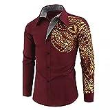 LSDJGDDE Camisas para hombre de manga larga de corte entallado para hombre y social, camisa de baile (color: rojo, tamaño: código 3XL)