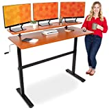 Stand Steady Tranzendesk 55 in Standing Desk with Clamp On Shelf | Crank Manual Height Adj...