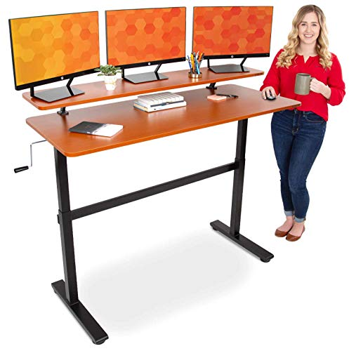 Stand Steady Tranzendesk 55 in Standing Desk with Clamp On Shelf | Crank Manual Height Adjustable Stand Up Desk with Attachable Monitor Riser | Holds 3 Monitors & Adds Extra Desk Space (55/Cherry)