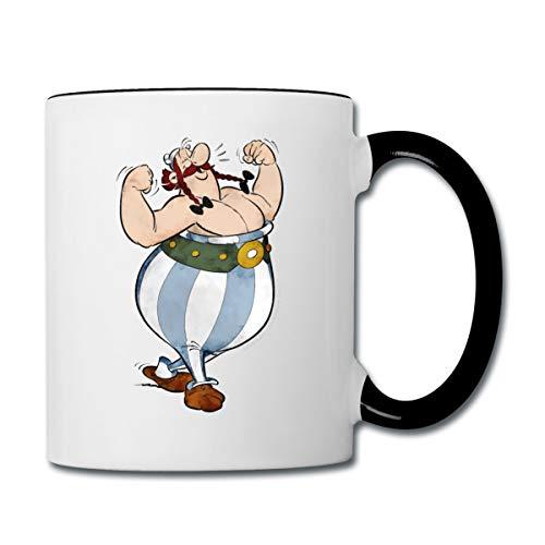 Asterix & Obelix Glücklich Muskeln Tasse zweifarbig, Weiß/Schwarz