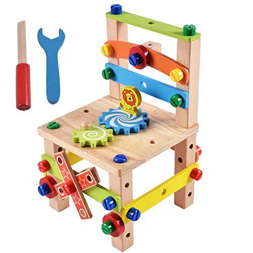 BSTOB Stuhl Demontage Spielzeug, Bauen Sie Ihren Stuhl Montessori Spielzeug Luban Holz Demontage Spielzeug Set, Puzzle-Blöcke pädagogische BAU Spielzeug Set für Kinder
