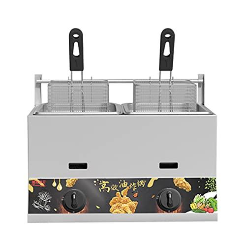 Deep Fryer Freidora de Gas de Gran Capacidad de 11/22 L, freidora de GLP de Acero Inoxidable para Uso doméstico y Comercial, Potencia de Fuego Ajustable, con cestas y Tapas, para Patatas Fritas