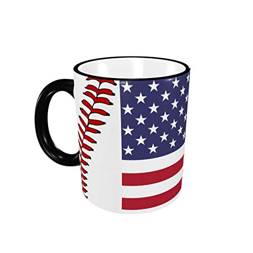 USA Flag Baseball Lace Ceramic Coffee Mug Unique Best Gifts Microwave and Dishwasher Safe Funny Tea Cup 12oz