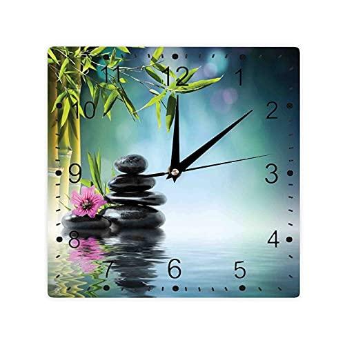 Rosa Flor Spa Piedras Y Árbol De Bambú En El Agua Relajación Terafía Paz Color Cuadrado Morden Reloj Slient