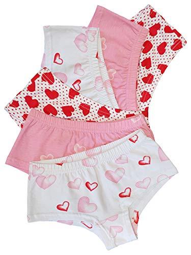 SGS Unterwäsche Mädchen Unterhosen Panty Kinder Baumwolle (158-164, 6er Pack Herz)