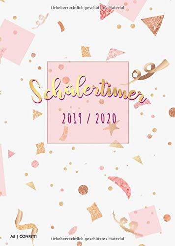 Schülertimer 2019 / 2020 A5 Confetti: Schulkalender mit modischem Cover   1 Woche pro Doppelseite   Plande Dein neues Schuljahr 2019 2020