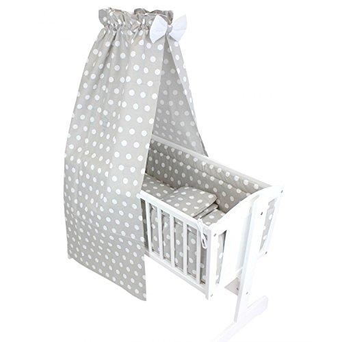 TupTam Unisex Baby Wiegen-Bettwäsche-Set 6-TLG, Farbe: Tupfen Grau, Anzahl der Teile:: 6 TLG. Set
