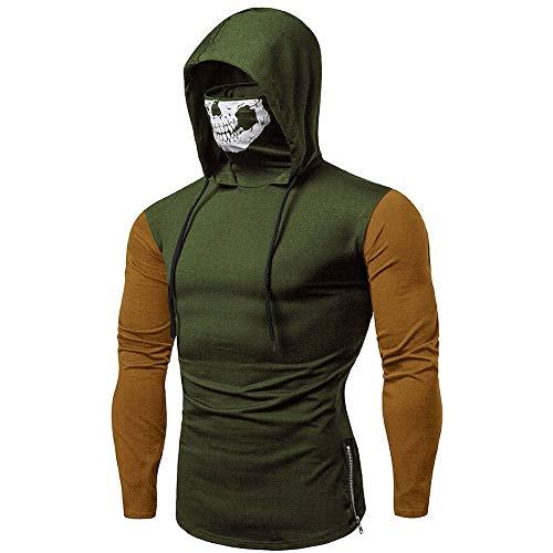 Hoodies for Mens, FORUU Clover Sales 2020 Under 10 Best Gift for Boyfriend Mask Skull Splicing Pullover Long Sleeve Hooded Sweatshirt Tops Blouse
