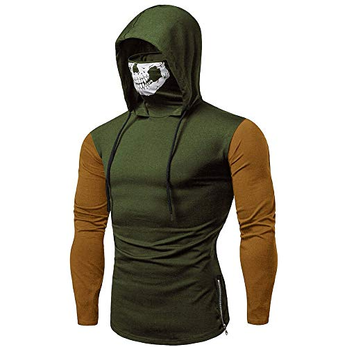 Hoodies for Mens, FORUU Clover Sales 2020 Under 10 Best Gift for Boyfriend Mask Skull Splicing Pullover Long Sleeve Hooded Sweatshirt Tops Blouse