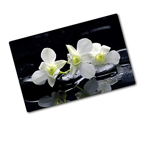 Tulup Tagliere Vetro Temperato - 80x52cm - Copri Piano Cottura - Orchidea