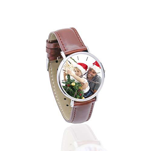 Reloj Personalizado con Foto Reloj Personalizado con Puntero de Cuero Suave Reloj para Hombres Reloj para Damas(Marrón a Todo Color Hombres-26cm)