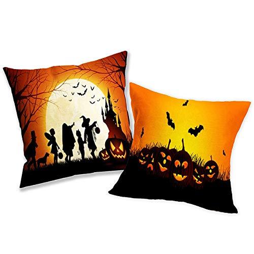 THE TWIDDLERS Funda Decorativa para Cojín de Celebración Halloween – 2 Cubiertas de Almohada para Fiesta de Disfraces – Accesorio para Decoración y Adorno de Casa, Habitación, Sofá, Cama y Oficina -